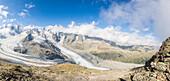 Panoramic of the Diavolezza and Pers glaciers, St. Moritz, canton of Graubunden, Engadine, Switzerland, Europe