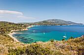 Overview of sand beach and turquoise sea, Sant'Andrea Beach, Marciana, Elba Island, Livorno Province, Tuscany, Italy, Europe