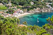 Sailboat in the turquoise sea, Porto Azzurro, Elba Island, Livorno Province, Tuscany, Italy, Europe