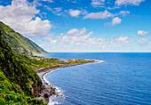 Coastal view towards the Faja dos Cubres, Sao Jorge Island, Azores, Portugal, Atlantic, Europe