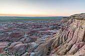 White Stupa sedimentary rock formations at dusk, Ulziit, Middle Gobi province, Mongolia, Central Asia, Asia