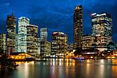 Brisbane city skyline after dark, Brisbane, Queensland, Australia, Pacific