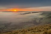 View from Mam Tor of fog in Hope Valley at sunrise, Castleton, Peak District National Park, Derbyshire, England, United Kingdom, Europe