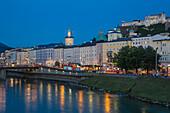 View of Salzach River, Hohensalzburg Castle and the Altstadt (The Old City), UNESCO World Heritage  Site, Salzburg, Austria, Europe