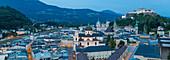 View of Hohensalzburg Castle above The Old City, Salzburg, Austria, Europe