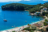 Overlook over the bay of Kalami, Corfu, Ionian Islands, Greek Islands, Greece, Europe