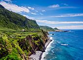 Coastal view towards Faja Grande, Flores Island, Azores, Portugal, Atlantic, Europe