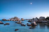 Rocks and moon, Palombaggia beach, Corsica, France, Mediterranean, Europe