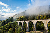 Railway bridge in the Ravenna gorge, Höllental in autumn, near Freiburg im Breisgau, Black Forest, Baden-Württemberg, Germany