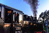 Locomotive driver of the steam railway Rasender Roland, Rügen, Ostseeküste, Mecklenburg-Western Pomerania, Germany