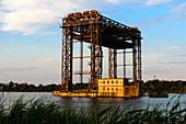 Ruins Remains of a railway bridge Lift bridge of Karmin, Usedom, Baltic Sea coast, Mecklenburg-Vorpommern, Germany