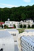 Baeder architecture with beach chairs in the foreground, Binz, Rügen, Ostseeküste, Mecklenburg-Vorpommern, Germany