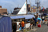 Fish shop at the harbor, Wismar, Ostseeküste, Mecklenburg-Western Pomerania, Germany