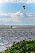 Kitesurfing on the island Ummanz, Rügen, Ostseeküste, Mecklenburg-Western Pomerania Germany