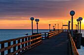 Sea bridge in sunset, Binz, Rügen, Ostseeküste, Mecklenburg-Western Pomerania, Germany