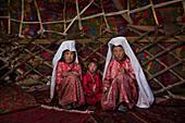 Kyrgyz women in yurt, Pamir, Afghanistan, Asia