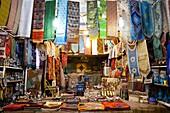 Textiles and souvenirs in the bazaar of Shiraz, Iran, Asia