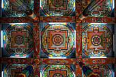 Ceiling of buddhist monastery in Itanagar, Arunachal, India, Asia