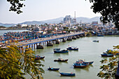 Ships in the port of Nha Trang, Vietnam, Asia