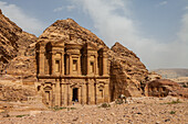 Monastery Ed-Deir in archaeological city Petra in Jordan, Asia