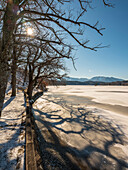 Light and shadow on the frozen Staffelsee, in the background the foothills of the Ammergau Alps, Seehausen, Upper Bavaria, Germany