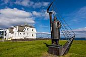 A statue of Einar Benediktsson near the Hofoi House in Reykjavik, Iceland, Polar Regions