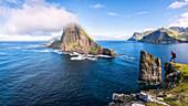Panoramic of the sea stacks of Drangarnir and Tindholmur islet, Vagar Island, Faroe Islands, Denmark, Europe