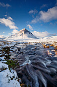 A wintery scene at Buachaille Etive Mor and River Coupall, Glencoe, Highlands, Scotland, United Kingdom, Europe