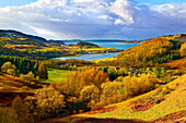 A scenic autumn view of a coastal landscape in the Scottish Highlands, looking towards Loch Melfort, Highlands, Argyll and Bute, Scotland, United Kingdom, Europe