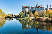 Sigmaringen Castle reflected in the Danube River, Sigmaringen, Baden-Wurttemberg, Germany, Europe