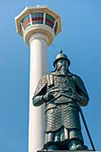 Busan Tower and statue of Admiral Yi Sun-shin at Yongdusan Park, Busan, South Korea, Asia