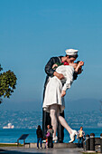Unconditional Surrender sculpture by Seward Johnson at the USS Midway (aircraft carrier) Museum, San Diego Harbor, San Diego, California, United States of America, North America