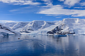 Early morning on a gorgeous day, elevated view of zodiac boat in Neko Harbour, Andvord Bay, Antarctic Continent, Antarctica, Polar Regions