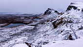 The Quiraing in the snow, Isle of Skye, Inner Hebrides, Scotland, United Kingdom, Europe