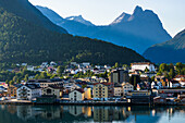 Andalsnes located at the mouth of the river Rauma, on the shores of the Romsdalsfjord (Romsdal Fjord), More og Romsdal, Norway, Scandinavia, Europe