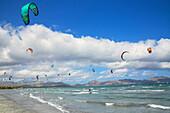 Kitesurfing, Alcudia beach. Mallorca (Majorca), Balearic Islands, Spain, Mediterranean, Europe