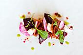 Beetroot, prosciutto and Quadrello di Buffalo salad served at Pretty Beach House