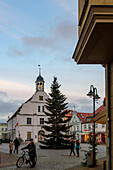 Christmas tree on the Marktplatz, Wolgast, Ostseekueste, Mecklenburg-Vorpommern, Germany
