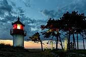 Lighthouse Hellen and landscape in the evening light, Hiddensee, Ruegen, Ostseekueste, Mecklenburg-Vorpommern, Germany