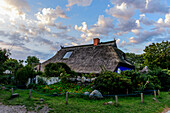 Blue barn in Vitte, Hiddensee, Ruegen, Baltic Sea coast, Mecklenburg-Vorpommern, Germany