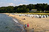 Beach with beach chairs of Goehren, Moenchgut peninsula, Ruegen, Ostseekueste, Mecklenburg-Vorpommern Germany