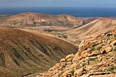 View from the viewpoint Risco de las Penas over the mountains of the West coast, Fuerteventura, Canary Islands, Islas Canarias, Atlantic Ocean, Spain, Europe