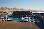 Harbour Puerto Nuevo with fishermen's boats at El Cotillo, Fuerteventura, Canary Islands, Islas Canarias, Atlantic Ocean, Spain, Europe