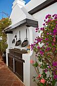 Open air kitchen and Casa Santa María at Betancuria, Fuerteventura, Canary Islands, Islas Canarias, Atlantic Ocean, Spain, Europe