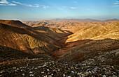View from the Mirador Astronómico de Sicasumbre near Fayagua to the East, Pass Degolla de las Maretas, Fuerteventura, Canary Islands, Islas Canarias, Atlantic Ocean, Spain, Europe