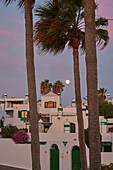 Full moon and morning glow at Costa Teguise, Atlantic Ocean, Lanzarote, Canary Islands, Islas Canarias, Spain, Europe