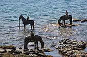Sculpture of horses at Castillo de San José, Arrecife, Atlantic Ocean, Lanzarote, Canary Islands, Islas Canarias, Spain, Europe