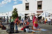 Belly dancer and musician, Sundays' market at Teguise, Atlantic Ocean, Lanzarote, Canary Islands, Islas Canarias, Spain, Europe
