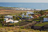 View at Tabayesco (in front) and Arrieta (by the sea), Lanzarote, Canary Islands, Islas Canarias, Spain, Europe