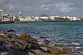 View from Castillo San Gabriel at Arrecife, Atlantic Ocean, Lanzarote, Canary Islands, Islas Canarias, Spain, Europe